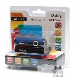 Веб-камера Dialog WC-30 (U) BLACK-BLUE - 350K, встр. микрофон, USB 2.0, черно-синяя
